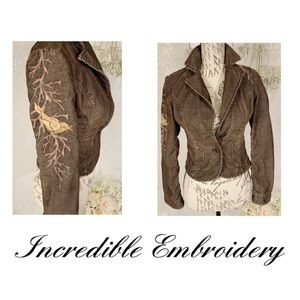 Rare:Guess Southwestern Embroider corduroy jacket